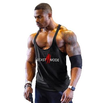 Bunbell Angelov Gyms Bodybuilding Stringers Tank Top Fitness Men Summer Sexy Muscle Workout Sportswear Print Vest Clothing