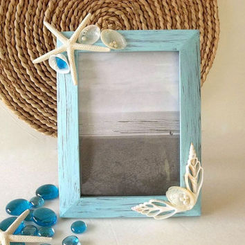 Beach Decor picture frame 5x7 Seashell & Starfish photo frame faux pearls, Abalone sea shells Coastal Seashore Nautical Decor photo frame