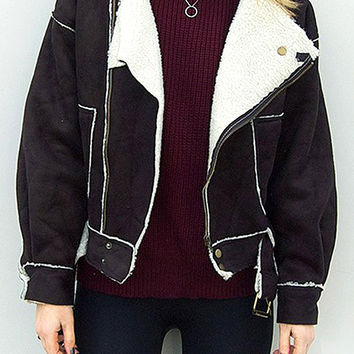 Faux Shearling Biker Jacket in Black
