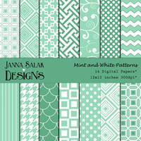 Mint and White Patterns Digital Scrapbook Paper INSTANT DOWNLOAD - 14 jpg files 12x12