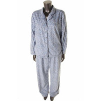 Charter Club Womens Fleece Animal Print Two-Piece Pajamas