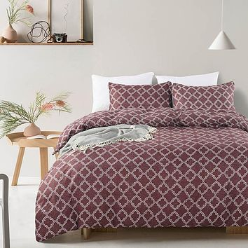 Geometric Plaid Pattern Bed Sheet Set