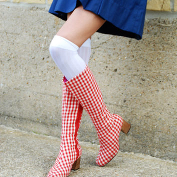 Vintage 1960s boots, red white gingham mod go-go boots, tall knee high check, stacked wooden heel, 5 6 7, Battani RARE