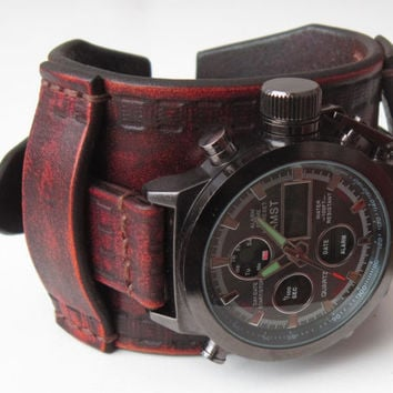 Mens Leather watch, Antique brown rustic leather Wrist Watch, Leather cuff watch, Mens gift, Custom Leather Cuff