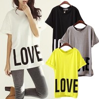 Women Chic LOVE Print Crew-neck Short Sleeve Boyfriend Oversized Tee Top T-shirt