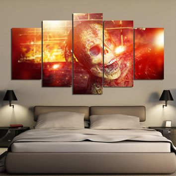 Gold Skull Scary in Sparks Fire 5 Panel Wall Art Panel Print Picture Poster