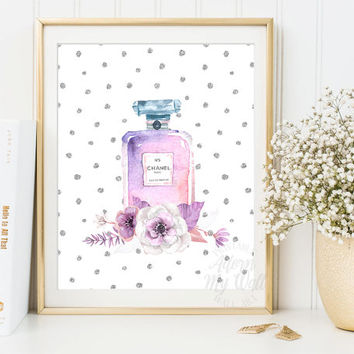 Chanel Perfume Print, Chanel Poster, Chanel No 5 Print, Coco Chanel, Chanel Prints, Floral Chanel Art, Coco Chanel Poster, Fashion Prints