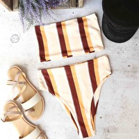 reverse - lean on - stripe bandeau high waist bikini set