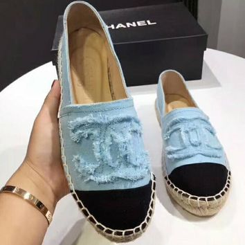 CHANEL 2018 trendy canvas fisherman shoes high quality straw shoes F-ALXY light blue