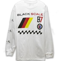 Black Scale Grand Prix German Long Sleeve T-Shirt - Mens Tee - White