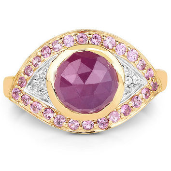 Stunning 14K Yellow Gold 2.20CT Genuine Pink Sapphire and White Topaz Ring