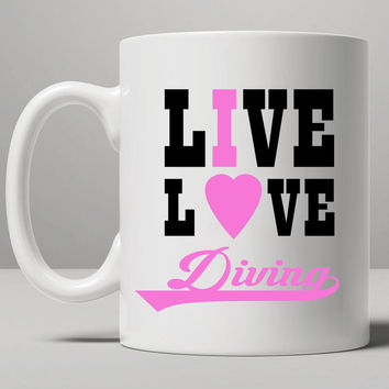Diving Shirt, Girls Diving Mug, Tea Mug, Coffee Mug