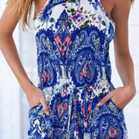Paisley Print Pocket Design Sleeveless Romper