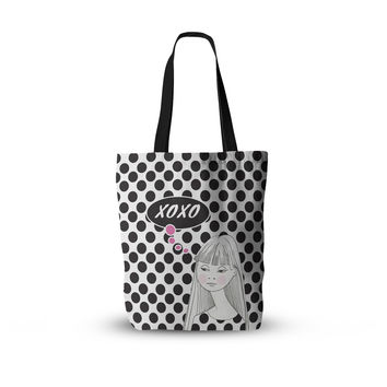 "Zara Martina Mansen ""XOXO Pop Art Polka Dot Girl"" Black White Everything Tote Bag"