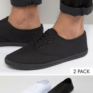 ASOS Plimsolls 2 Pack SAVE 20%