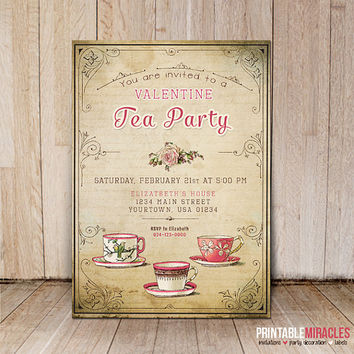 Valentines Day invitations / Vintage style Valentine tea party invitation / Printable bridal tea party invite card / Shabby chic invites