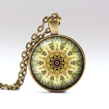 Hippie jewelry Buddhist necklace Colorful pendant OWA21