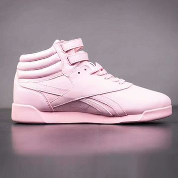 Reebok Women High Help Casual Pink Leather Running Sport Shoes Sneakers  I-A-YYMY-XY
