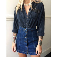 Elina 2016 new summer style vintage faldas crayon jupe etek saia feminina A-line jeans high waist button denim skirt female D4