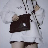 """Bape"" Unisex Sport Casual Simple Single Shoulder Messenger Bag Couple Zip Small Bag"