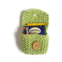 Knitted Tea Bag Holder with Lining – Handmade Tea Accessories – Tea Organizer – Tiny Knit Coin Purse – Tea Bag Wallet – Green Tea Tote