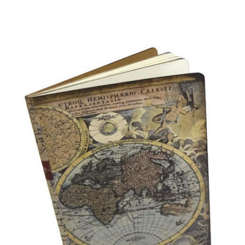 Adventure Travel Journal - Antique World Map Notebook - Altered Travel Diary