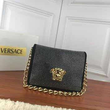 DCCK V0001 Versace Suede Diamante Chain Type Carrying Handbag 24-11-18cm Black