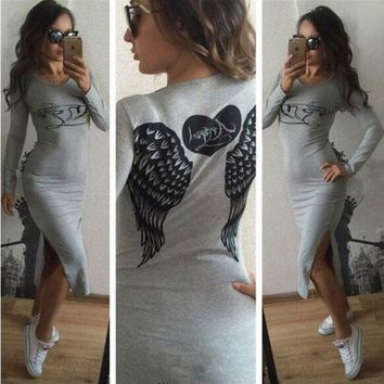 CUPCUPST Angel Wings Heart-shaped Letter Pattern Print Bodycon Long Sleeve Split Maxi Dress