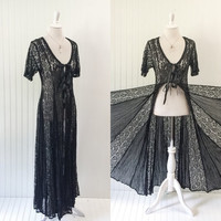 1990s vintage sheer black lace & gauze ULTRA full sweep maxi goth boho grunge // open front duster ribbon ties // size S