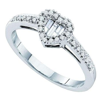 14kt White Gold Women's Round Baguette Diamond Heart Cluster Ring 1/6 Cttw - FREE Shipping (US/CAN)