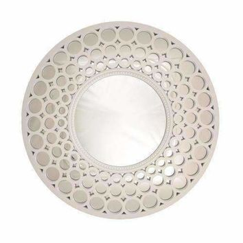 "24.75"" Glamorous Cascading Orbs White Framed Round Wall Mirror"