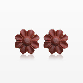A Pair of Brown Wild Flower Handcarved Wood Earring Stud