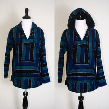 Vintage Baja Poncho Jacket 1990s Striped Blue and Black Soft BAJA Jacket Grunge Jacket Soft Hoodie Surfer Skater Hippie  SMALL Medium