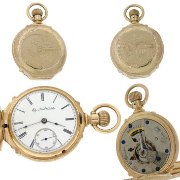 1888 Antique Victorian Elgin Solid 14k Gold 15J Hunter Pocket Watch 18s 140g