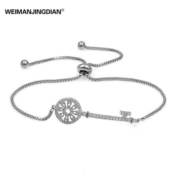 2017 New Style Cubic Zirconia Crystal Pave Fashion Key Bracelet with Adjustable Slide Lock for Women