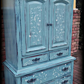 Vintage armoire, blue armoire, children's furniture, wardrobe armoire, Rustic wardrobe armoire, painted armoire, rustic 7 drawer dresser