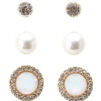 Opal, Pearl & Rhinestone Stud Earrings - 3 Pack