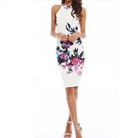 Sleeveless Floral Print Stretch Bodycon Package Hip Casual Party Pencil Dress