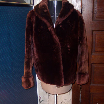 1950  Vintage  Rockabilly   mouton fur coat jacket