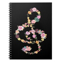 watercolor flowers music treble clef on black notebook