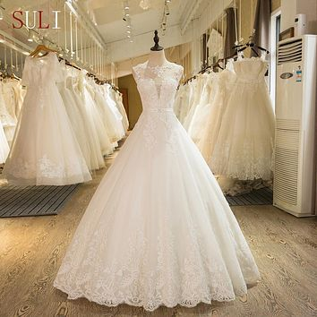SL-1 New Arrival A-Line Sleeveless Tulle Lace Appliques Wedding Dress 2017