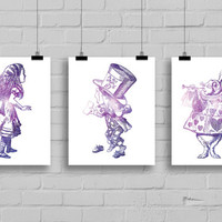 Alice in Wonderland Galaxy Art Print Set - Home Decor - Dorm Decor - Office Decor - Set of 3