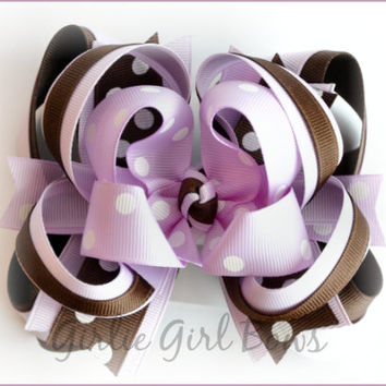 Boutique hair bow, Boutique stacked bow, Gymboree bow, M2MG DESERT FLOWER, Hair bows for girls, Toddler hairbow, Purple bow, Lavender bow