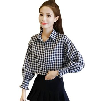 Blusas Femininas 2017 Autumn Long Sleeve Shirt Women Clothes Cotton Linen Plaid Blouse Plus Size Vintage Fashion Women Blouses