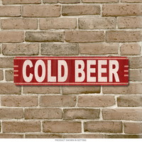 Cold Beer Vintage Ad Steel Sign 20 x 5
