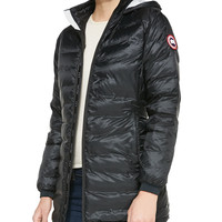Camp Hooded Mid-Length Puffer Coat, Black, Size: