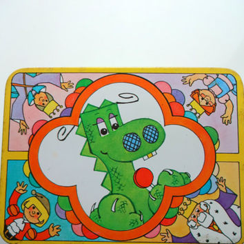 Vintage Cartoon Lollipop Dragon Metal Tin With Handles 1982