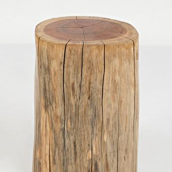 Round Wooden Stump Accent Table, Natural Brown