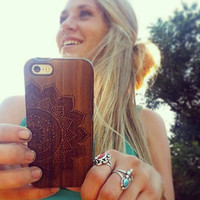 Walnut Wood Mandala iPhone 5c 5 5s Case Holder , Full Wood iPhone 5c 5 5s Case Cover , Engraved Wood iPhone 5c 5 5s Case , Wood Phone Case
