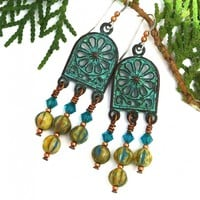 Turquoise Mykonos Rose Boho Chandelier Earrings, Rustic Yellow Blue Zircon Handmade Jewelry